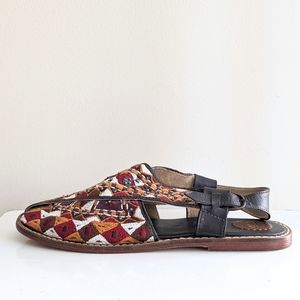 Anthropologie Cyd Embroidered Flat Sandals